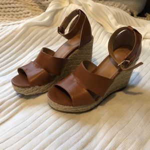 Brown Strappy Wedge Heel